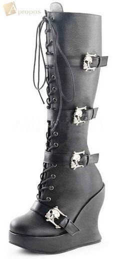 Stiefel Keilabsatz 12,7cm Leder Damen Totenkopf Schwarz Schnürung Apropos