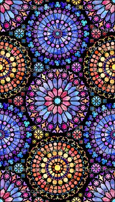 "GORGEOUS stained glass window fabric ""painted rose windows"" by logan_spector (sp. Stained Glass Church, Stained Glass Quilt, Stained Glass Windows, Stained Glass Tattoo, Glass Painting Designs, Paint Designs, Mandala Design, Mandala Art, Whats Wallpaper"