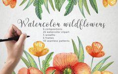 Niečo pre grafikov – stiahnite si bezplatne set vodovkových kvetov Free Design Resources, Frame Wreath, Free Graphics, Free Download, Flower Frame, Free Illustrations, Watercolor Illustration, Flower Patterns, Design Bundles