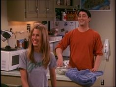 """Jennifer Aniston shows off her female pride with a t-shirt that says 'girl' (Friends: Season 6, Episode 18 """"The One Where Ross Dates a Student"""")"""