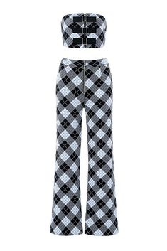 Black and White Plaid Two-piece Jumpsuit - Thisfind Collection Stage Outfits, Kpop Outfits, Dress Outfits, Girl Outfits, Fashion Dresses, Cute Outfits, Two Piece Jumpsuit, Badass Outfit, White Plaid