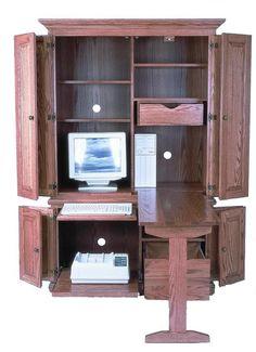 """Amish 51"""" Deluxe Computer Armoire Desk                                                                                                                                                                                 Más"""