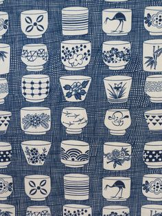 Indigo Japanese Tea Cup Print Pure Cotton Fabric from Alexander Henry--One Yard on Etsy, $9.98