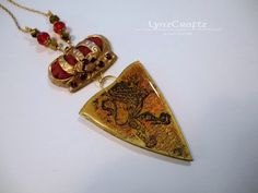 Lions Crest and Crown of Royalty red & gold polymer clay pendant necklace jewelry cabochon charm handmade One of a Kind by LynzCraftz on Etsy