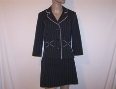 MY MICHELLE Sz 9/10 Skirt Jacket Suit Black Pink Pinstripe Bow Juniors NWT #MyMichelle #SkirtSuit