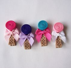 Hot Pink Lollipop Hair Clip  A Cute Ribbon by MasterpiecesOfFunArt, $3.75
