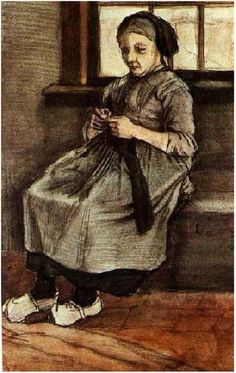 Vincent. Woman Mending Stockings,  Watercolor. The Netherlands: Oct 1881