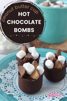 Peanut butter cup hot chocolate bombs are a chocolate shell topped with candy peanut butter cups and filled with peanut butter that melts into a deliciously rich mug of peanut butter and chocolate hot cocoa.