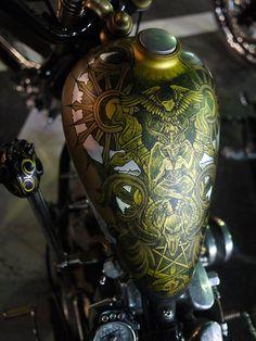 gold & silver Baphomet tank mural