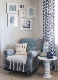 Gray rocking chair in gender neutral nursery. A little boho, a little traditional, and a touch of farmhouse. #lovelyetc #nurserydecor #boynursery