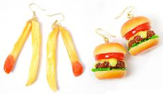 Hamburger and french fries earrings...would you wear them? #foodjewellery #forfoodies #christmas #giftideas http://www.somuchviral.com/food-accessories/