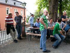 SEO Stammtisch Darmstadt, Public Viewing im Biergarten Darmstadt