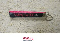 """This handcrafted key chain is proudly Made in America. Our patriotic key chain is just the right size so you'll never lose your keys again! Moreover, this US Navy Wife key chain is the perfect item to show off your military pride. Notice the heart charm, just a little added bling!  Handcrafted from genuine military fabric and strong nylon webbing, this key chain will stand the test of time. Excellent gift for yourself and for your Military friends and family members!!! 1""""x6"""""""