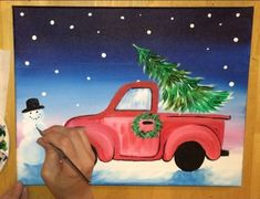 How To Paint A Christmas Tree Truck - Step By Step Painting Burlap Christmas Tree, Christmas Wood Crafts, Christmas Tree Painting, Christmas Rock, Wooden Christmas Ornaments, Winter Painting, Christmas Drawing, Rustic Christmas, Christmas Cookies