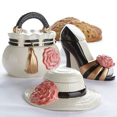David's Cookies Set of 3 Fashionista Cookie Jars with Cookies