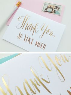 hand-lettered gold foil thank you cards – Charm & Fig