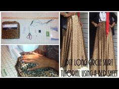 Nadira037 | DIY| Long Circle Skirt Tutorial Part 1 | Using a Bed Sheet - YouTube