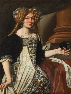 Portrait of a lady holding a mask by Gennari Benedetto