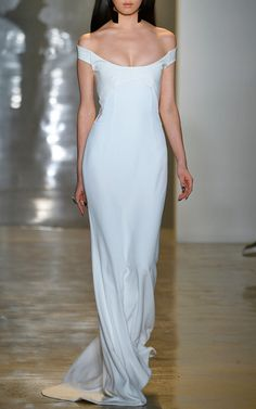 Matte Viscose With Patent Leather Gown by Cushnie et Ochs white off the shoulder