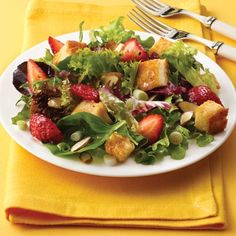 Strawberry Basil Salad with Sweet Croutons is a great weeknight dinner idea.