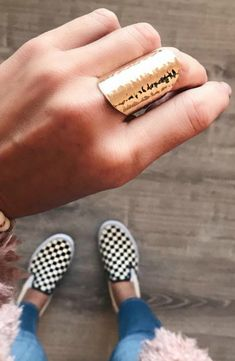 The Jena's Pick Gold Ring is a standout! This ring goes perfect with EVERYTHING!