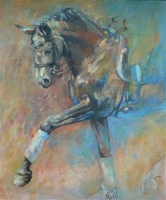 """HORSES Oil painting by """" Elan 4"""" 100 x 120 http://www.cathdriessen.nl/ https://www.facebook.com/pages/Cath/447137662037857"""