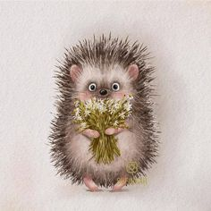 Hedgehog Illustration, Illustration Art, Little Bird Tattoos, Hedgehog Art, Fantasy Drawings, Fairy Art, Clay Crafts, Cute Art, Animals And Pets