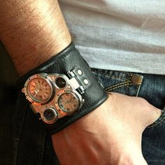Men's watch, Leather Cuff Watch, Wrist Watch, Leather, Leather Cuff, Bracelet Watch, Army Green