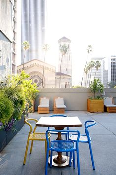 commissary in l. Outdoor Spaces, Indoor Outdoor, Outdoor Living, Outdoor Decor, Interior And Exterior, Interior Design, Colorful Chairs, Palette, Beautiful Space