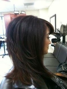 Layered cut fun Red color with copper highlights