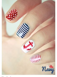 Not the biggest fan of patterned nails or with designs on nails, but this sailor theme is pretty cute!!