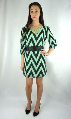 Classic Chevron Striped Dress - Mint/Black