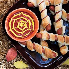 I was searching mummy dog recipes and found this ketchup and mustard web.  Some people are so clever!