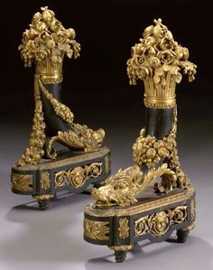 * A Fine Pair of Large Louis XVI Style Gilt-Bronze and Patinated Bronze Chenets.  French, Circa 1870.
