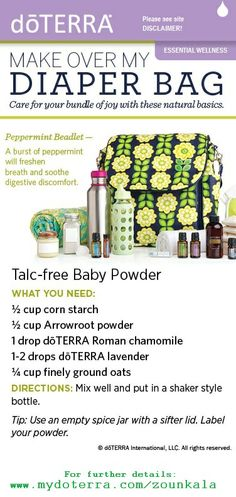 Self Help Guide for a DIY Diaper Bag Makeover - approved and promoted by doTERRA. Please see Pin Folder's Disclaimer!