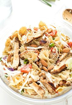 Asian Chicken Pasta Salad – Made with an incredible vinaigrette and simple ingredients! Ready to go in 30 minutes and can be made with or without mandarin oranges. Perfect for picnics and potlucks.