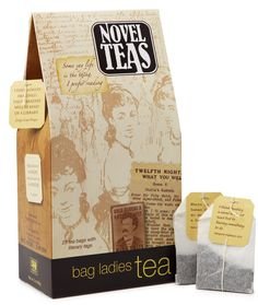 Novels Teas. A quote from a famous author on every bag's tag. Delicious too!