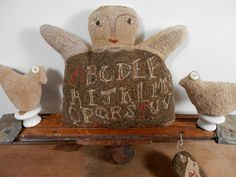 ANGEL and BIRDS Push Toy folk art primitive by thesimplequiet, $350.00