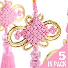 Todos Chinese Knotting Tassel Pink color with a special Chinese style ceramic beads Hanging for Decoration Decorative knots 5 in pack -- Learn more by visiting the image link.