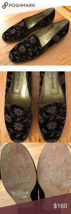 Yves Saint Laurent Brown Velvet Loafers, Size 8.5M Yves Saint Laurent dark brown velvet loafers with embroidered flower stitching. Tips are perfect. There are some spots where I noticed loose thread (shown in the images). These are classic and similar to Stubbs and Wootton style flats.  Only been worn a couple of times - in excellent condition! Yves Saint Laurent Shoes Flats & Loafers
