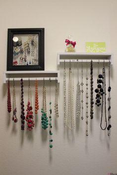 Ikea spice racks as jewelry display