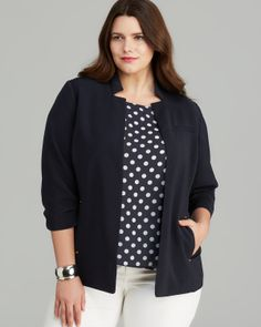 Jones New York Collection Ruched Sleeve Blazer   Bloomingdale's