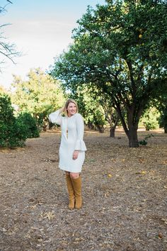 On the hunt forholiday dresses? Thiswhite sweater dressis flattering, comfortable and super versatile!