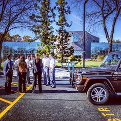 West Point cadets outside MBUSA headquarters just before a test drive of the #G550.