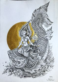 Ganga, Goddess of Water พระแม่คงคา by W. Naiyasit #thaiart #thai #art #goddess
