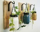 Wall decor-Individual Hanging Painted Mason Jars , mounted to wood base with wrought iron hooks, rustic decor, painted jars, farmhouse decor