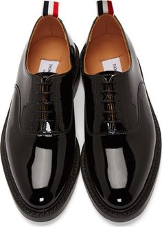 Thom Browne Black Patent Leather Oxfords