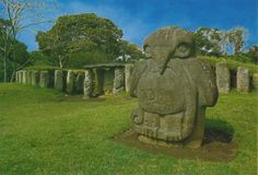 San Agustín Archaeological Park  Columbia.  The largest group of religious monuments and megalithic sculptures in South America stands in a wild, spectacular landscape. Gods and mythical animals are skilfully represented in styles ranging from abstract to realist.