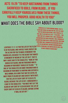 Acts 15:29; Leviticus 17:11-14; Gen 9:3-6 What does the Bible say about blood?