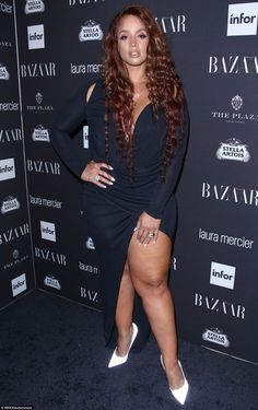 Navy is the new black? Actress Dascha Polanco sizzled in a navy figure-hugging number with an eye-watering split